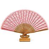 レディース中国の中空ファンレース、ダンス、結婚式の装飾、誕生日、ギフト(紫/赤)のために使用されるナイトクラブコスプレ扇子、 (Color : ピンク)