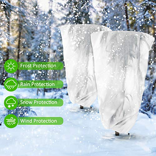 MECO Plant Covers Freeze Protection, 2.4oz 31.5'' x 47'' Upgraded Thickness Shrub Cover, Winter Frost Cover Anti-Freeze Jacket Warm Blanket for Season Extension, Frost Protection (2 Pack)