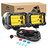 Nilight - ZH304 Led Light Bar 2PCS 5Inch 72W 10800Lumens Yellow Flood Beam Fog Driving Lamps Off-Road Lights with 16AWG Wiring Harness Kit-2 Lead, 2 Year warranty