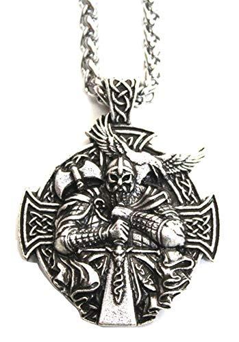Herren Halskette mit Anhänger Viking Berserk – Kette Schmuck für Schneiden, Kraft und Schutz – Symbol Kreuz Tribal Rune Nord Keltisch Jagd – Geschenk Original Herren (Silber)