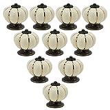 PsmGoods® - Perilla estilo europeo vintage de cerámica con forma de calabaza para puerta, cajón, aparador de cocina, armario, alacena, 10unidades, Beige