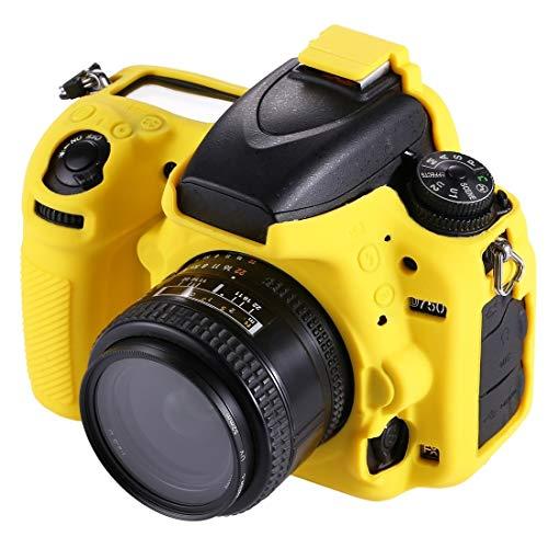 Blando de Silicona Protectora Caso de la Bolsa de la cámara for Nikon D750 (Camuflaje) Movoo (Color : Yellow)