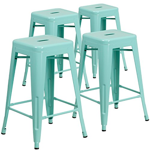 Flash Furniture 4 Pk. 24'' High Backless Mint Green Indoor-Outdoor Counter Height Stool