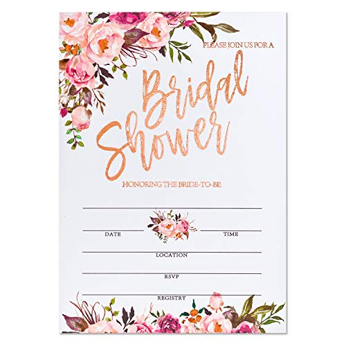 Crisky Rose Gold Foil Bridal Shower Invitation with Envelopes, Bridal Shower Invite, Wedding Shower Invitations, 25 pcs Cards & 25 pcs Envelopes & 25 pcs Stickers