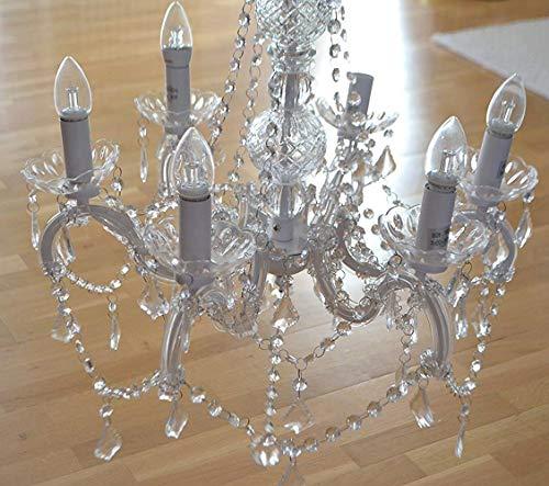 Kronleuchter- Deckenleuchte - wunderschöner VENEZIANISCHER KRONLEUCHTER 6-armig chic und modern-klar/weiß,