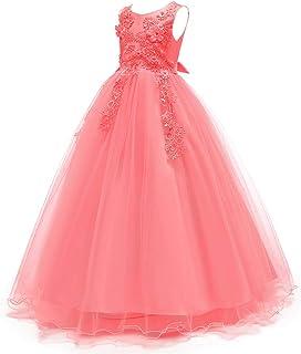 IBTOM CASTLE Princess Flower Girls Pageant Tutu Long Dress Tulle Dance Party Fall Wedding Bridesmaid Evening Prom Ball Gown