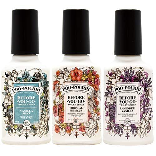 Poo-Pourri Lavender Vanilla, Tropical Hibiscus and Vanilla Mint 4-Ounce Set