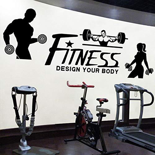 Gym Sport Personages Muurstickers Fitness Apparatuur Verkoop Winkel Gewichtheffen Dumbbells Bodybuilding Fitness Engels Stickers Stickers, Zwart Trompet 24cmX80cm