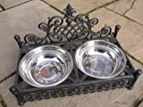 Best Value Here Antique Style Cast Iron <span class='highlight'>Pet</span> DOG CAT Raised <span class='highlight'>Bowl</span>s 2 <span class='highlight'>Stainless</span> <span class='highlight'>Steel</span> DIsh Food Water <span class='highlight'>Large</span> Small (<span class='highlight'>Large</span>)