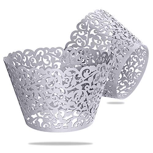 Wedding Decor Guides de Cupcakes Muffin Tasses pour Mariage Anniversaire événements et Fonctions par Mariage, Silver, Pack of 100