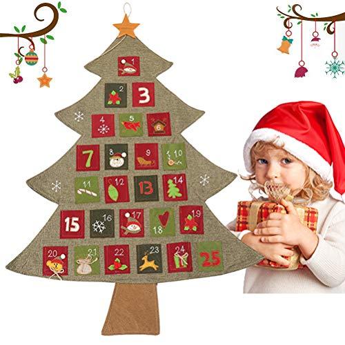 Heylas Adventskalender voor vullen, vilt kerstkalender met 24 DIY kerstornamenten als geschenkkalender voor kinderen meisjes volwassenen