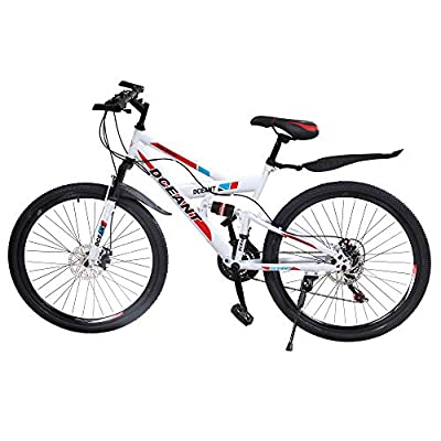 DOMDIL 26in Mountain Bikes 21 Speed MTB Dual Disc Brake Lightweight and Durable City Riding Travel Cycling for Adult (White)