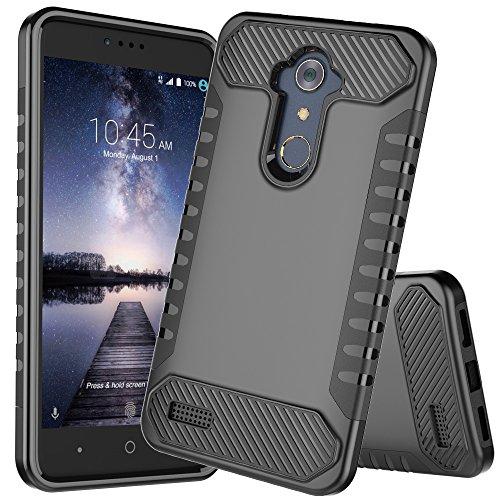 ZTE ZMax Pro Case, ZTE Carry Z981 Case, JDBRUIAN Heavy Duty Defender Shock Absorption Impact Resistant Protection Hybrid Case Cover for ZTE ZMax Pro/Carry Z981[Black]