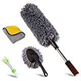 upra Ultimate Car Duster Kit,Best Microfiber Multipurpose Duster,Interior &Exterior Cleaning Tools,Dashboard Detailing Brush,Scratch Lint Free,Pollen Removing,extendable Handle,Tuck,SUV,RV,Set of 4