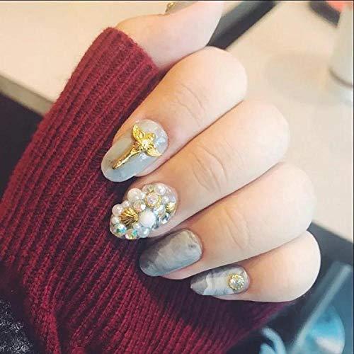 CLOAAE 3D Design Crystal Metal Nail Art Tips With Women Fashion Shining Rhinestone Fake Nails Girls Summer Blue Color False Nails