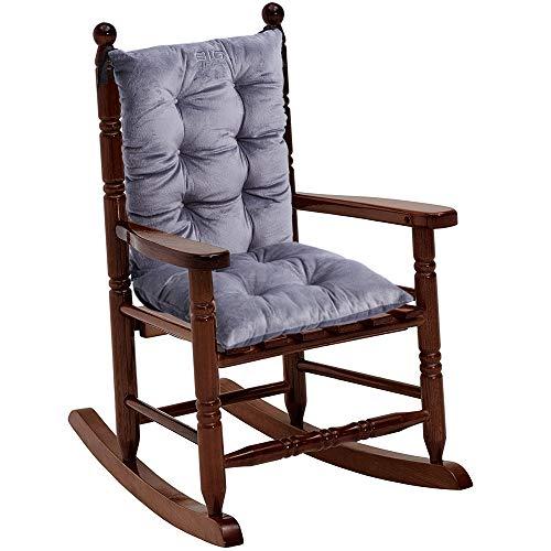 Big Hippo Child Rocking Chair Cushion Pad Set Rocking Chair Seat Back Cushion Set with Ties for Kid ChildrenGrey