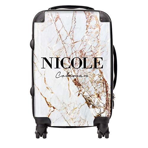 Personalised Marble Name Initial Suitcase TSA Lock with 4 Spinner Wheels (Cabin (56cm), Cracked Name Marble)