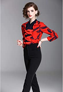 Y&D mixed neck ethnic patch work full sleeve shirt for women red color