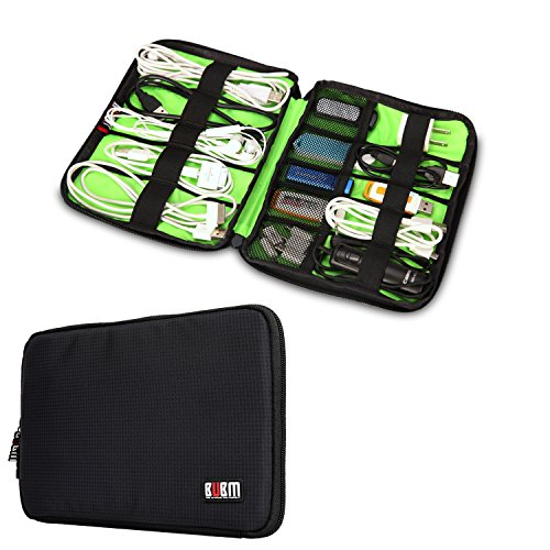BUBM Universal Electronics Accessories Organizer, Travel Cable Organizer Case Gadgets Storage Pouch for Cables, USB Drive, Flash Disk and More (Black)