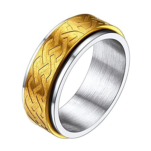 Celtic Knot Engagement Ring Spin Worry Rings Wedding Band for Men Women Size 7