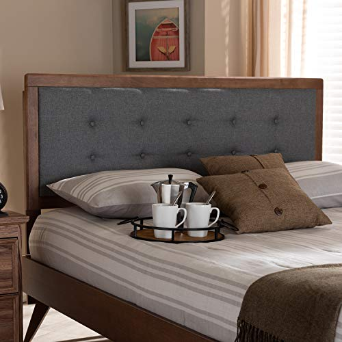 Baxton Studio Sarine Mid-Century Modern Dark Grey Fabric Upholstered Walnut Brown Finished Wood King Size Headboard