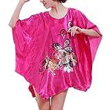 ZHYP Ronda de Pijama de Verano de Las señoras de Manga Corta Cuello, Camisón Mujer Plus Tamaño Ropa Inicio Easy Wear and Cool,Rose Red (A)-One Size