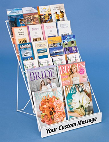 Wire Magazine Rack with 6 Open Tiers, Holds Both Magazines and Brochures, Includes Sign Channel at The Front - White Wire