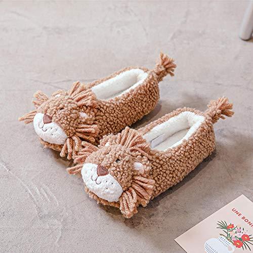 XZDNYDHGX Zapatos Invierno de La Casa,Zapatillas de algodón de león de Dibujos Animados para el hogar Interior para niñas, Zapatillas de Mujer, Caqui EU 41-42