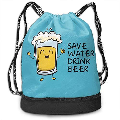 Adetad Rucksack mit Kordelzug zum Zuziehen von Wasser, Getränken, Bier, Sport, Fitnessstudio, Reiserucksack
