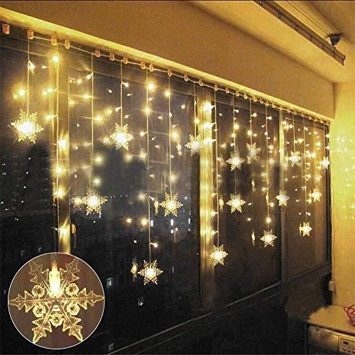 LED Lichtervorhang, LED Lichterkette, Lichterkettenvorhang, WeihnachtenBeleuchtung, Warmweiß String Licht, Weihnachtsdeko, EU Stecker, Innen- und Außenbereich, 3.5M*0.8M