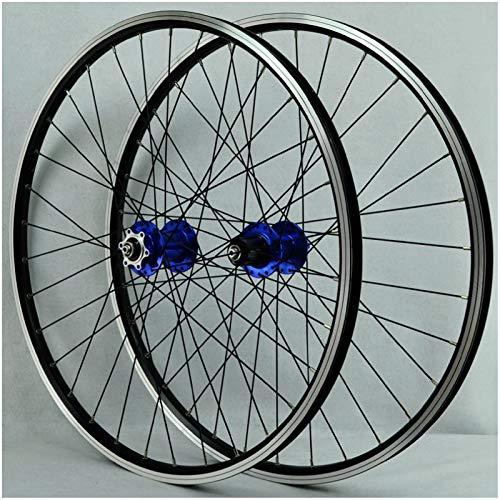 ZPPZYE Ruedas MTB 26 Pulgadas, Pared Doble Aleación de Aluminio V Freno Rueda de Bicicleta Híbrido/Montaña para 7/8/9/10/11 Velocidad (Color : Azul, Size : 26 Inch)