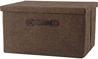 PPCP Storage Box Environmentally-Friendly Folding Large Covered Fabric Home Storage Clothes Finishing Box (Color : Brown)
