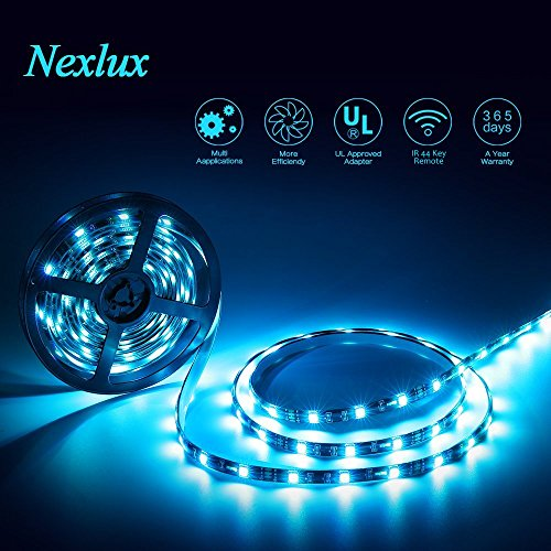 Nexlux LED Strip Lights, 16.4 ft Color Changing Light Strip 5050 SMD RGB LED Flexible Strip Lights Black PCB Board Decoration Lighting 44 Keys IR Remote Controller UL Power Adapter