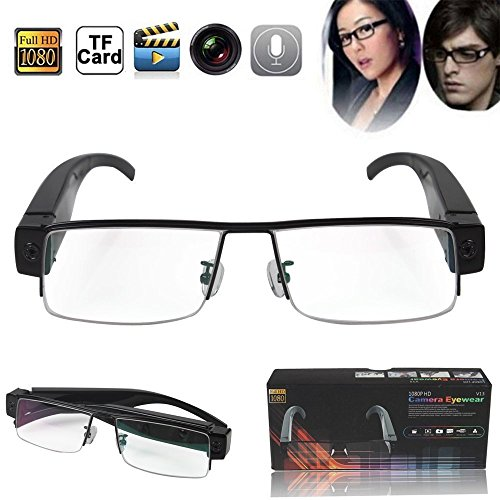 Flylinktech 2015 Fashion Brille Neueste Zwei-Tasten HD 1920 1080 Spion Kamera Glasses 1080P DV DVR versteckte Kamera Eyewear DVR Video Recorder Camcorder Sport DVR
