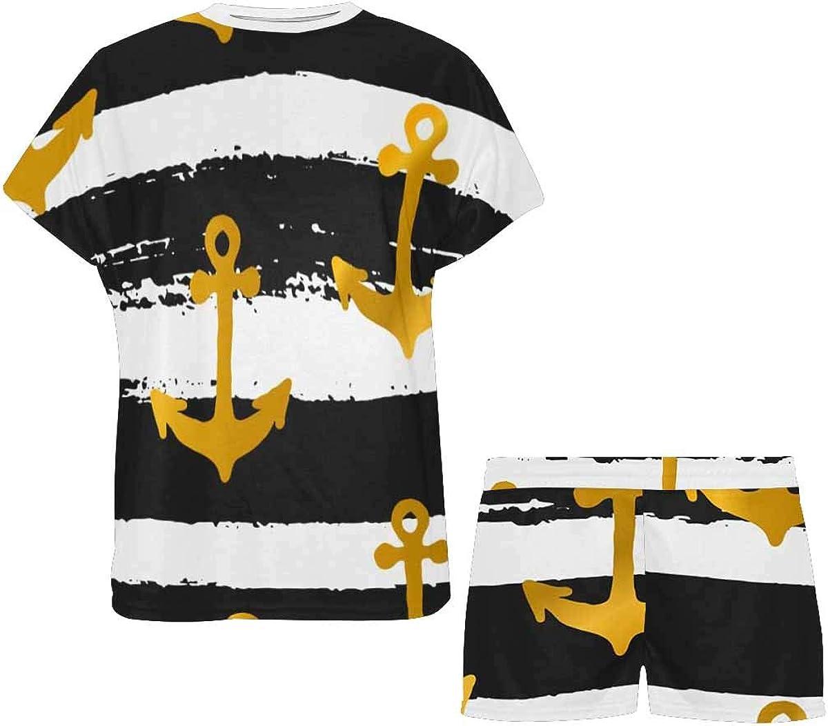 INTERESTPRINT Golden Anchors Stripes Women's Pajamas Short Sets Round Neck Short Sleeve Sleepwear