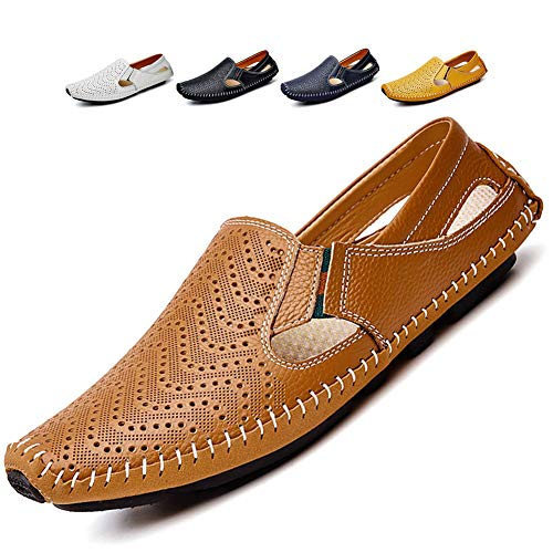 Noblespirit Men's Driving Shoes Leather Fashion Slipper Casual Slip on Loafers Shoes in Summer Mens Mules Shoes Breathable Diameter-zinroy Slip-on Loafers Red Brown NSLFS8503-RB46
