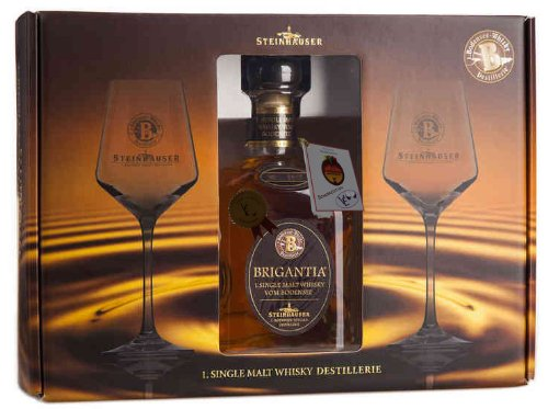 Brigantia Single Malt Whisky vom Bodensee in exklusiver Geschenk-Box m 2 Gläsern - Edition VE