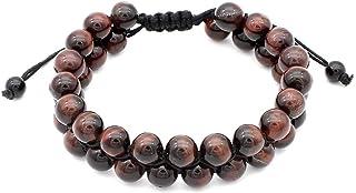 Beaded Braided Rope Bracelet Blue Tiger Eye Natural Reiki Energy Gemstone Double Layer Bangle Unisex Bracelets