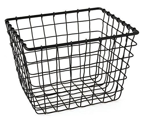GELCO Design Fab Panier de Rangement Filaire, Métal, Noir, 18 x 22 x 16.5 cm