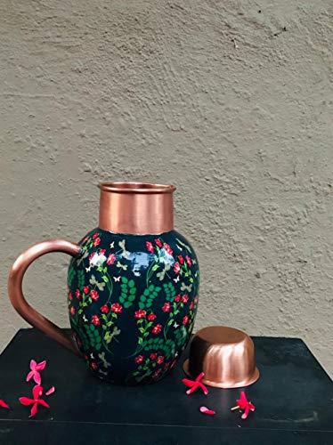 Ecohindu - Jarra de agua de cobre puro impresa hecha a mano...