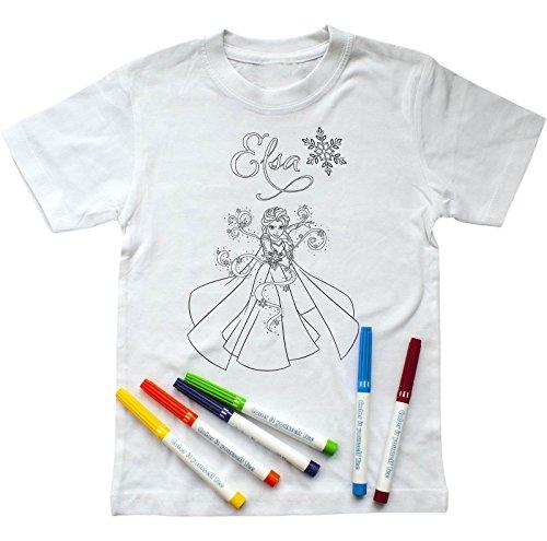 Disney  Mädchen T-Shirt zum Ausmalen mit ELSA-Aufdruck, inkl. Stiften , 128-134, Weiß