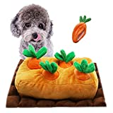Lepawit Dog Plush Toy Interactive Squeaky Crinkle Hide and Seek Plush Dogs Toys Hide Treats Puzzle Toys for Small Medium Dogs with 5 Carrots