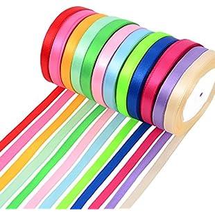 300 Yards Double Sided Fabric Ribbon Silk Satin Roll, 12 Colors (10 mm Wide):Animewalk