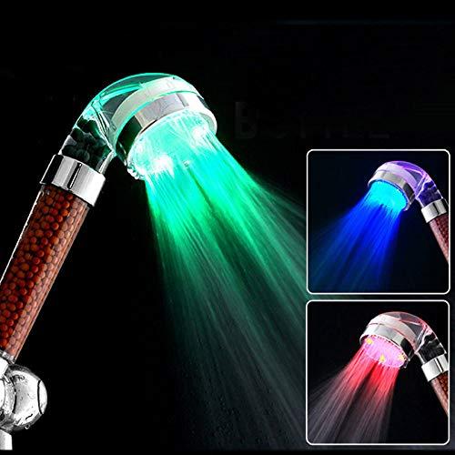 HYkeep LED Alcachofa de Ducha, Ducha LED de Luz, LEDGLE Cambia de Color Alcachofa de Ducha con Luz LED Automáticamente, No Necesita Pilas (7 Colores)