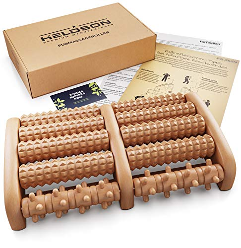 HELDSON® Premium Fußmassageroller Holz inkl. deutscher Anleitung und Karte für Fußreflexzonenmassage - Fussmassageroller Holz für Fußmassage