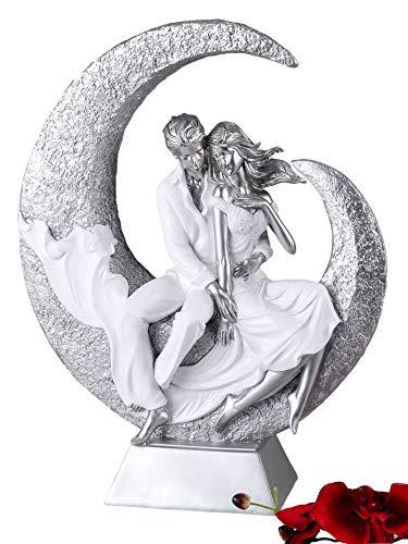 Moderne und exklusive Skulptur Liebespaar auf dem Mond aus Keramik weiß/silber Höhe 40 cm