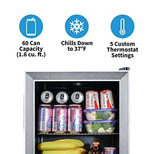 NewAir Mini Fridge Beverage Refrigerator and Cooler, Free Standing Glass Door Refrigerator Holds Up To 60 Cans, Cools to 37 Degrees Perfect Beverage Organizer For Beer, Wine, Soda, and Pop