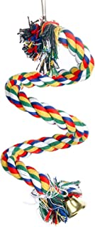 Spiral Parrot Cotton Rope with Bells, Bird Exercise Bungee Climbing Ropes Toy, Length 39.4inch(1M) Rainbow
