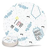 Coasters for Drinks, Absorbent Coaster Set of 6 Love, Love Dad Printed with Coffee Necktie Blue White Natural Ceramics & Cork Backing Round Cup Mat for Cold Drinks/Wine Glasses, Housewarming Gift
