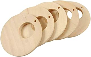 50 Pcs Natural Wood Pendants Unfinished Wooden Earrings Pendants with Hole for Jewelry Making (30 MM)